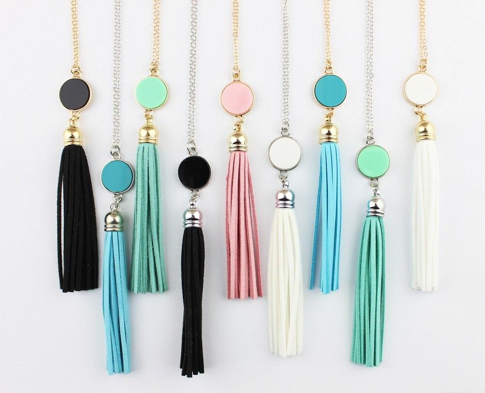 Монограмма акриловый диск заготовки Длинная цепочка Кулон Бохо бархат кисточкой ожерелье для женщин Femlae модные ювелирные изделия