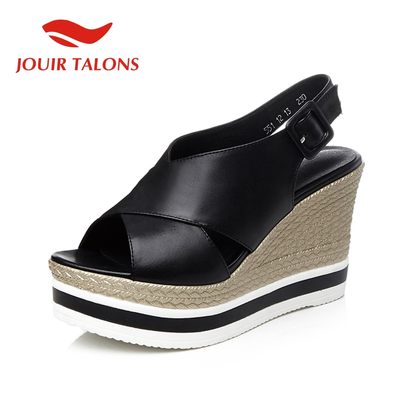 JOUIR TALONS Solid Platform Sandals Women Summer Genuine Leather Women Wedges High Heels Shoes Woman