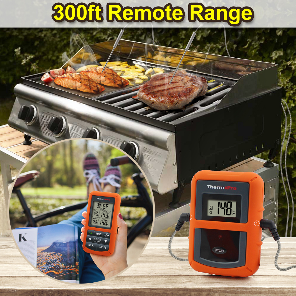 Image 2 - ThermoPro TP 20 Remote Wireless Digital BBQ, Oven Thermometer  Home Use Stainless Steel Probe Large Screen with Timerwireless  bbqwireless thermometer bbqbbq wireless