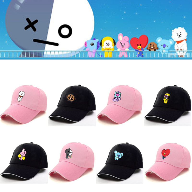 New Kpop BTS BT21 Bangtan Cartoon Boys Q Back JUNGKOOK SUGA JHOPE JIMIN Pink Black The Same Letter Baseball Hat Peaked Cap ...