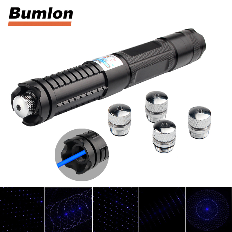 <font><b>450nm</b></font> <font><b>Blue</b></font> <font><b>Laser</b></font> <font><b>Pointer</b></font> Flashlight with 5 Star Cap Charger for Outdoor Travel HT3-0024 image