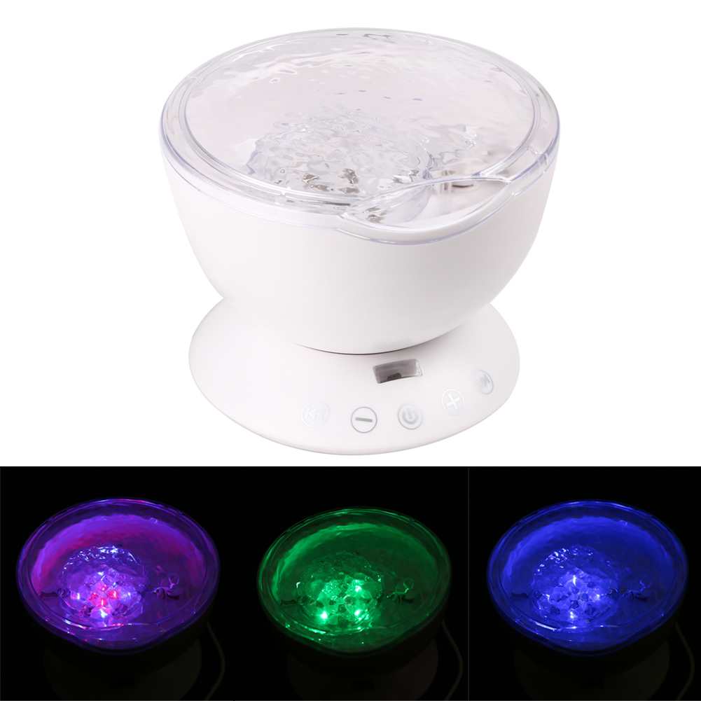 Ocean Wave Projector Lamp Remote Control LED Night Light For Holiday Decoration Baby Bed Lamp