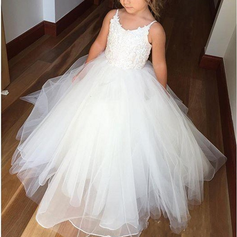 Cute Spaghetti Lace And Tulle   Flower     Girl     Dresses   For Wedding White Princess   Girls   Pageant Gowns Children Communion   Dress