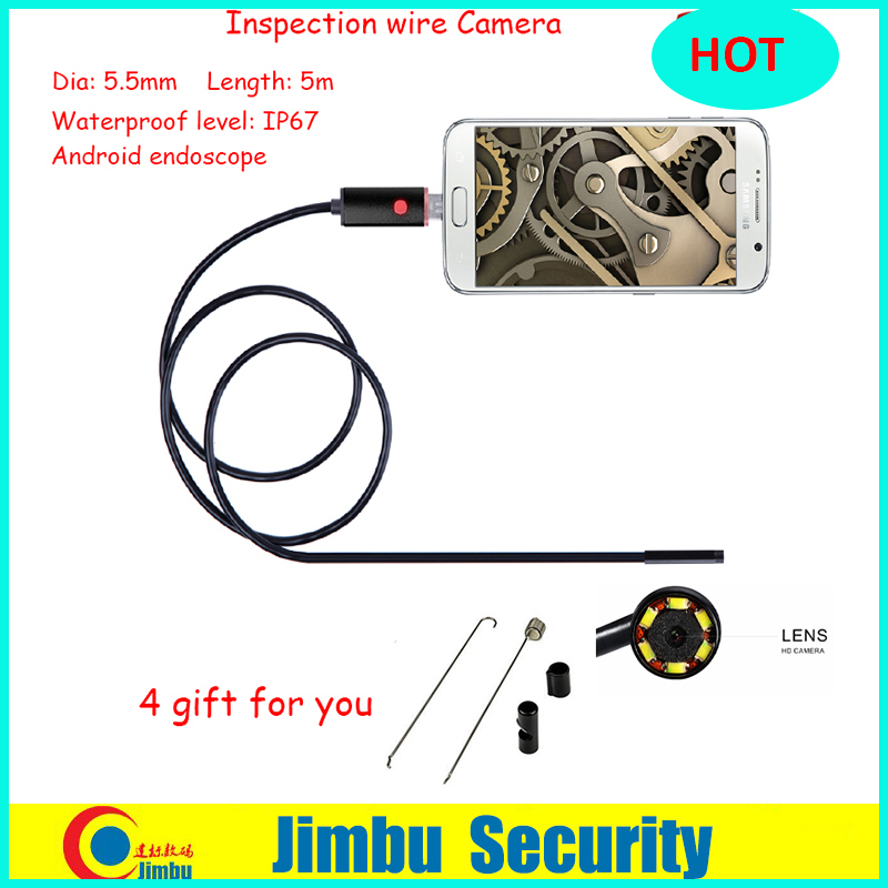 2IN1 Lens 5.5mmx5m 6 LED PC Android Endoscope 2.0MP HD 720P Borescope Tube Inspection Wire Cameraon Video Cam 6 Adjustable LED