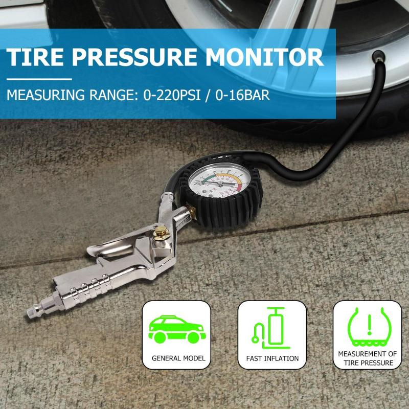 0-220psi 0-<font><b>16bar</b></font> Tire <font><b>Pressure</b></font> <font><b>Gauge</b></font> for Car Auto Truck Motorcycle Tyre Inflator Most Of Them Use In Motorcycles Trucks Etc image