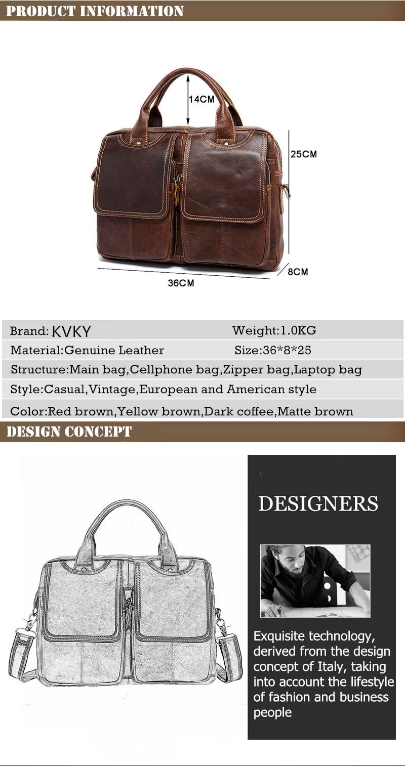 KVKY Vintage Genuine Leather Men's Bag Luxury Crazy Horse Leather Handbags Shoulder Bags Casual Man Briefcase Large Laptop Bags