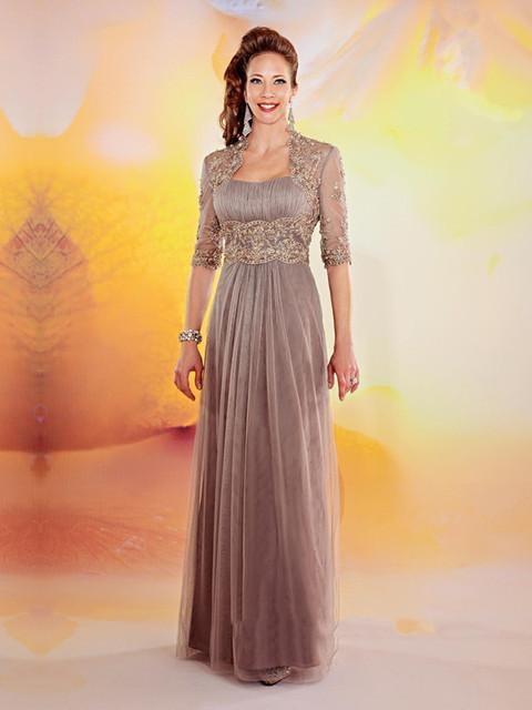 2017 Nueva Moda A-Line Applique Rebordeó el vestido de Sleveless Piso-Longitud madre de la novia vestidos vestidos de madre de la novia