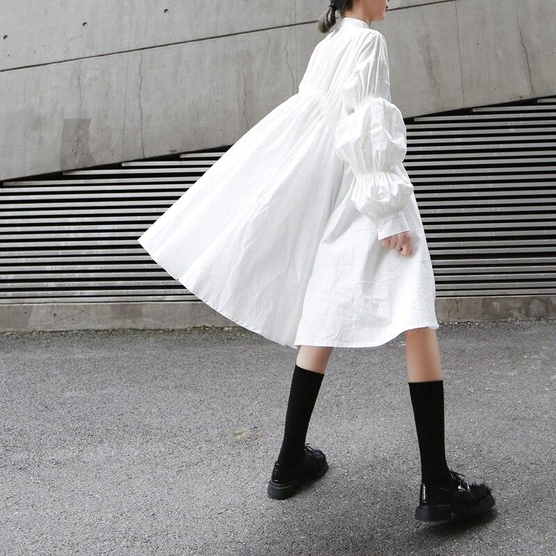 Coréen Femme Femmes Chemises Style Robes Printemps Twotwinstyle Puff Asymétrique 2019 Montant Mode Robe Pour Manches Col Longues À White rBoeCxdW