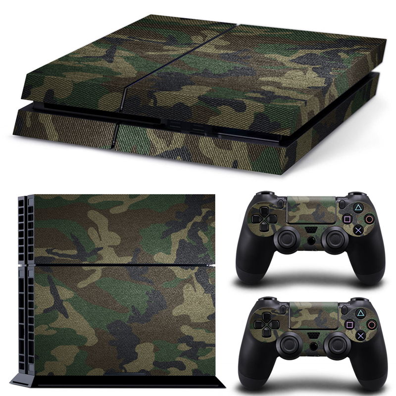 Алынатын камуфляж Camo үлгісі Vinyl Skin Sticker Film үшін PlayStation 4 PS4 Console + 2Pcs Free Controller Cover Decals