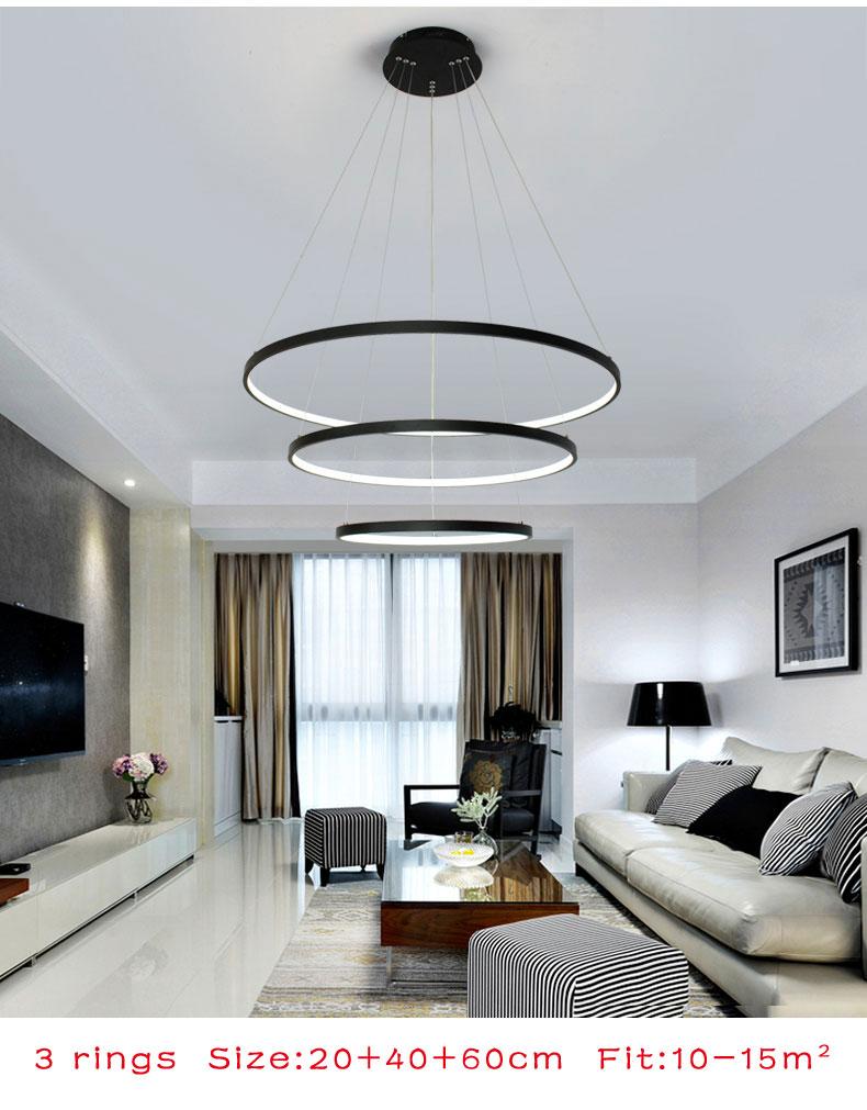 Us 5016 46 Offnowoczesny żyrandol Led Black White Rrings Led Oświetlenie żyrandol Do Salon Jadalnia Kuchnia Hanglamp Opraw Oświetleniowych W