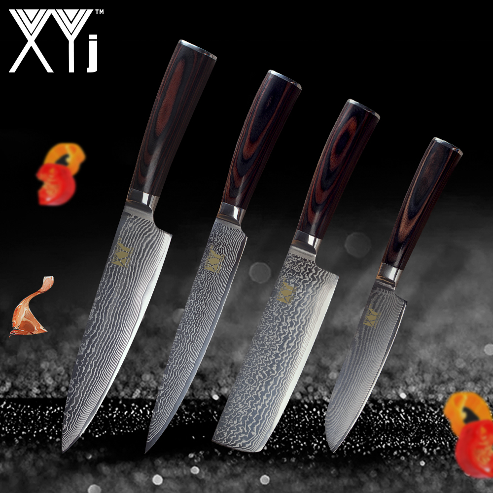 XYj Cuisine Cuisine Couteau Outils 5 7 8 8 damas Couteaux Noyau VG10 Nouvelle Arrivée 2018 Japonais Damas En Acier Cuisine Outils