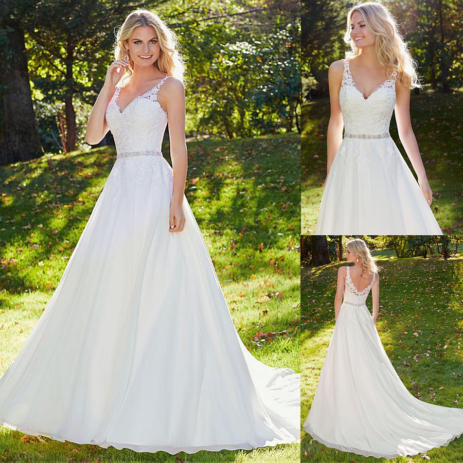 Fashionable Chiffon V neck Neckline A line Wedding Dress With Lace Appliques Beading Sash Outdoor Bridal