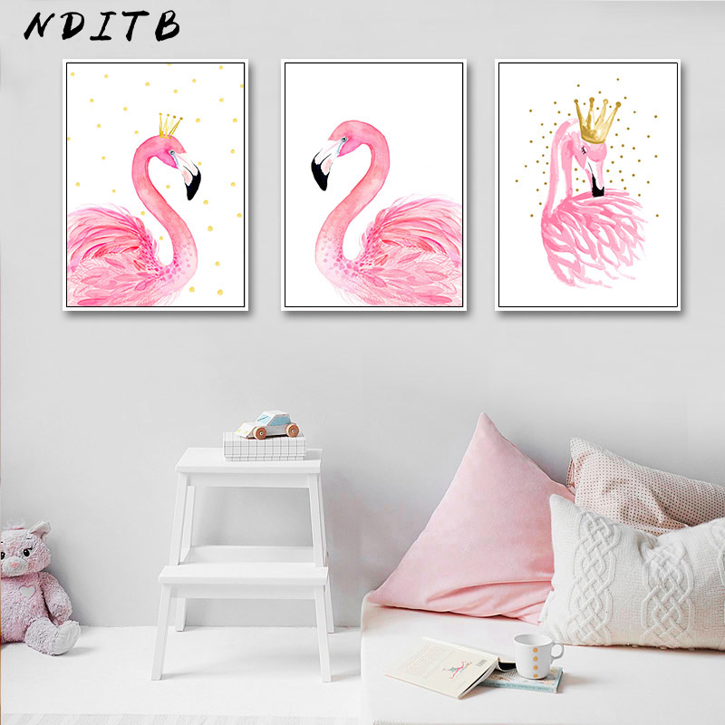 Elegant Watercolor Flamingo Crown Canvas Poster And Print Wall Art Painting Nordic Kids Decoration Pictures Baby Bedroom Decor
