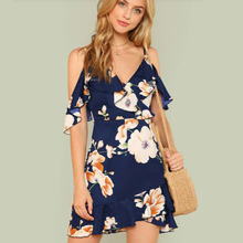 Floral Boho Dress A-Line V-Neck Sexy Spaghetti Strap Mini Dress Vestidos De Fiesta Ruffle Hem Floral Dress Sukienki Vestidos ruffle hem floral bardot dress