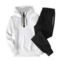 Hoodies Set Men Clothing 2018 Autumn Casual Two Piece Zipper Hooded+Sweat Pants Suit Mens Sportwear Tracksuit Male Outwear White