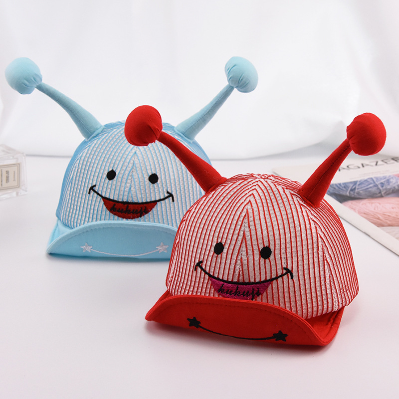 2019 Baby Cuffed Soft Hat Spring Summer Breathable Baseball Cap 0-1 Years Old Boy And Girl Baby Embroidery Smiley Visor Sun Hats