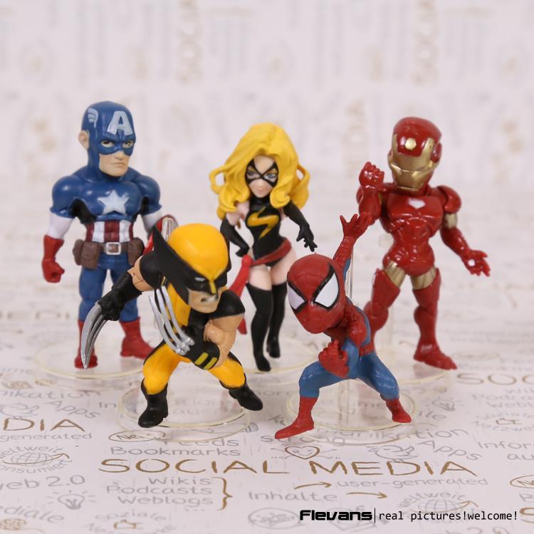 Avengers Superheroes Action Figures Toys Captain America Iron Man Spiderman Logan PVC 5pcs/set