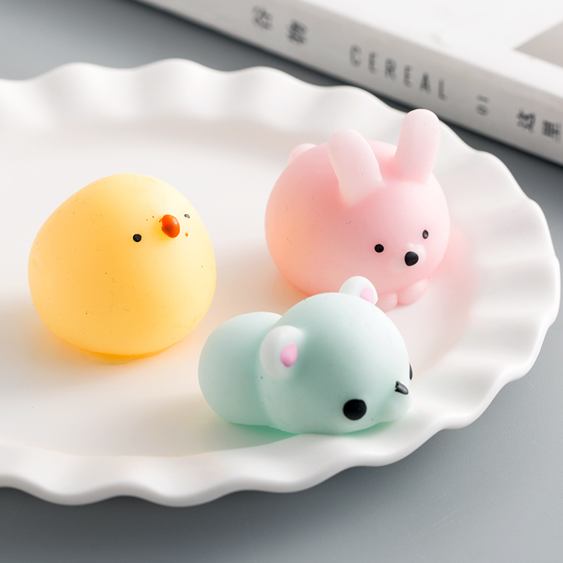 Купить с кэшбэком Mini Cute Animal Cat Soft Sticky Squeeze Toy Mochi Anti Stress Relief Funny Gift Release Pressure Toy
