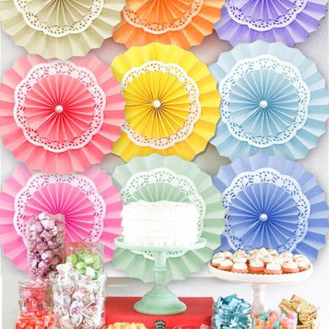 5pcslot 820cmtissue Paper Fan Flowers For Wedding Birthday Party