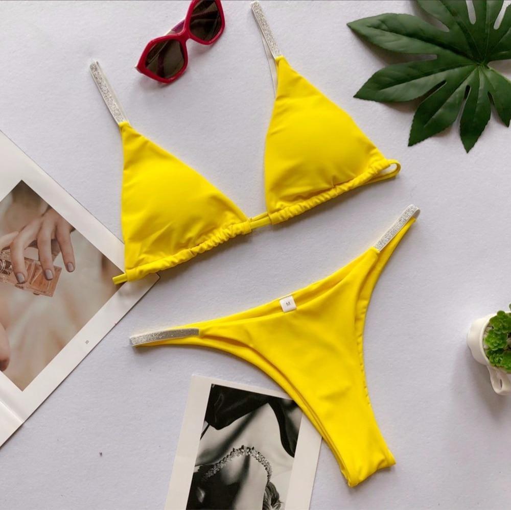Sexy sólido Tanga bikini brillante 2019 correas bikinis mujeres traje de baño rosa cintura baja baño 6 color bikinis natación traje de baño