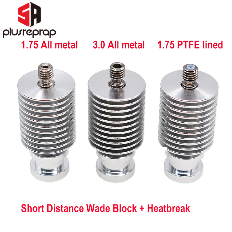 V6 Heat Sink Short Distance J-head Hotend All Metal Wade Block With Heat Break For 1.75mm 3.0mm Filament 3D Printer Parts