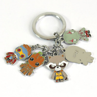 Guardians of The Galaxy Keychain Rocket Raccoon, Groot,  Star Lord, Gamora and Drax