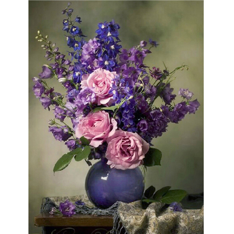 Home Art DIY 5D Diamond Embroidery Purple Flowers Pattern Rhinestones Mosaic 50 60 Full Round Diamond