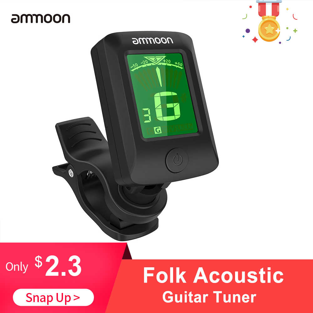 ammoon Folk Acoustic Guitar Tuner Rotatable Clip-on Tuner LCD Display Chromatic Acoustic Violin Ukulele Bass Electronic Tuning