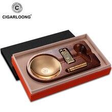 cigar ashtray 3pcs sets portable lighter with smoking pipe pressure bar set gift box packaging CQ-0125