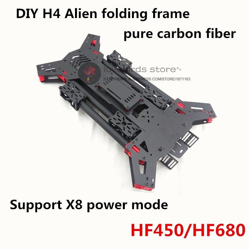 Oyuncaklar ve Hobi Ürünleri'ten Parçalar ve Aksesuarlar'de DIY FPV drone quadcopter Alien H4 450/% 680 saf karbon fiber katlanır çerçeve airframe kiti 450mm/680mm dingil mesafesi Desteği X8 modu'da  Grup 1