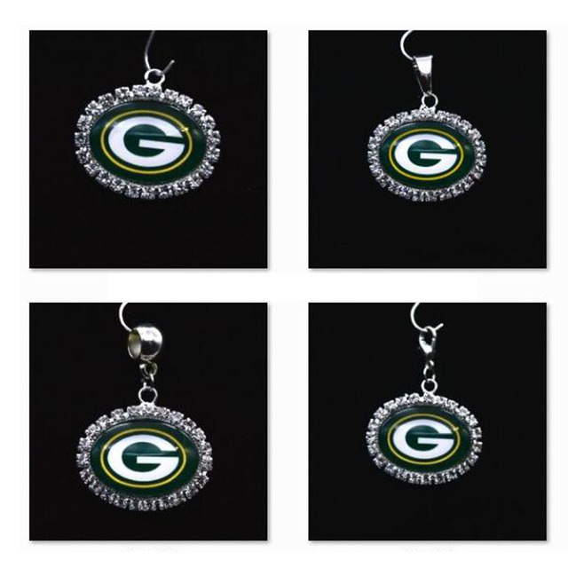 Silver Pendant Charms Rhinestone Green Bay Packers For Bracelet Necklace Women Men Football Fans Paty Fashion 2018