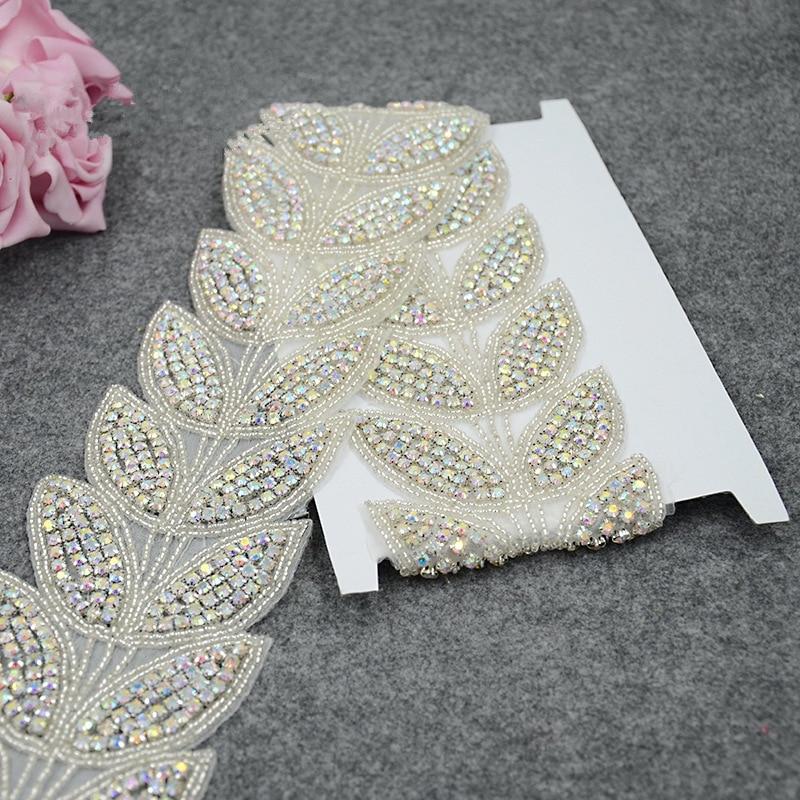 Leaves shape ab crystal bridal rhinestone beaded applique for Wedding dress trim beading