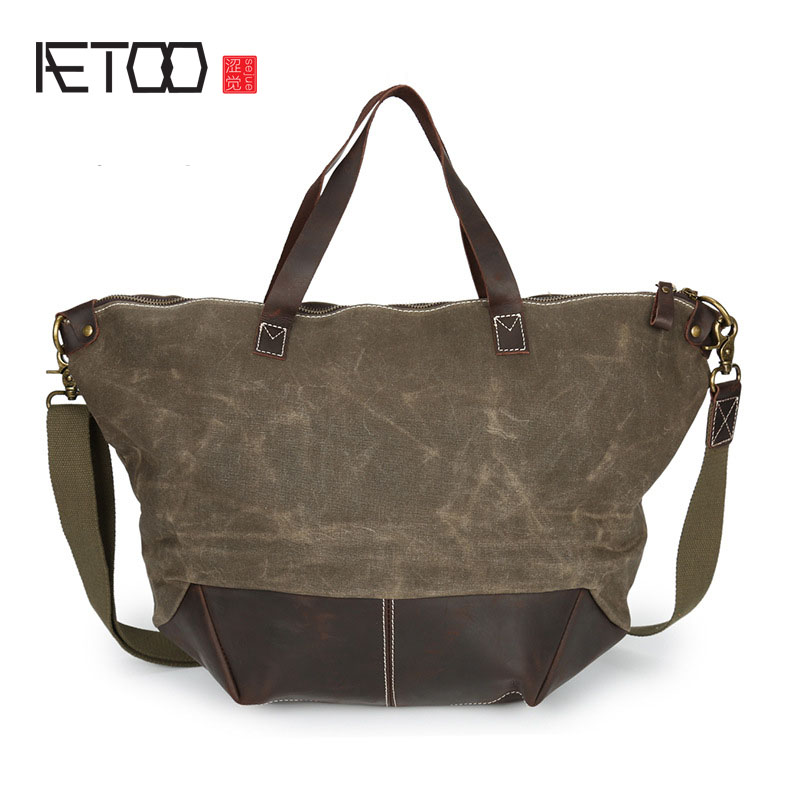 AETOO Europe and the United States fashion shoulder bag oil wax canvas with crazy horse bag waterproof Messenger bag men and wom new europe and the united states fashion oil wax head layer of leather portable retro shoulder bag heart shaped color embossed h