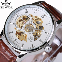 SEWOR Top brand Watches Classic Mens AUTO automatic Mechanical Watch Self Winding Analog Skeleton Brown Leather Man Wristwatch