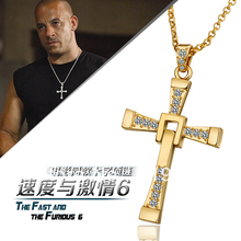 LN703 The Fast and the Furious Real Gold Plated Cross Pendant Necklaces Collier Dominic Toretto Bijoux