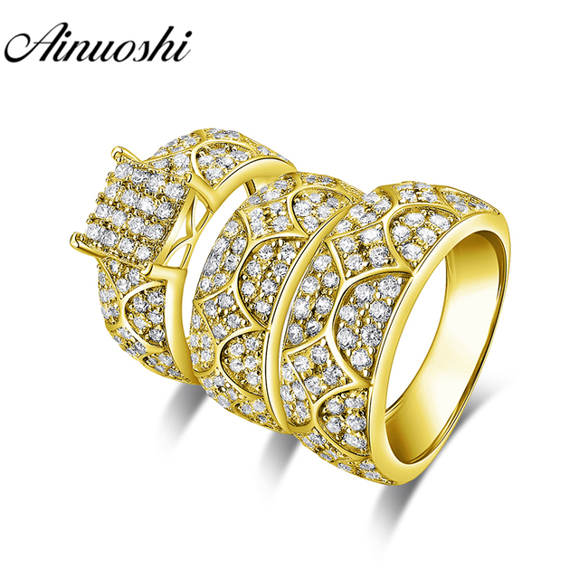 AINUOSHI 13.6g Real Gold TRIO Ring Set Engagement Jewelry 10K Yellow Gold Couple Wedding Ring Fine Vintage Pattern Cluster Ring