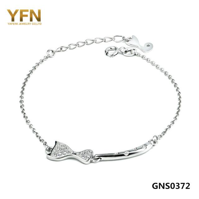 Gns0372 auténtica plata de ley 925 pulsera de cadena de joyería de moda CZ Crystal Cat brazalete de la pulsera para mujeres