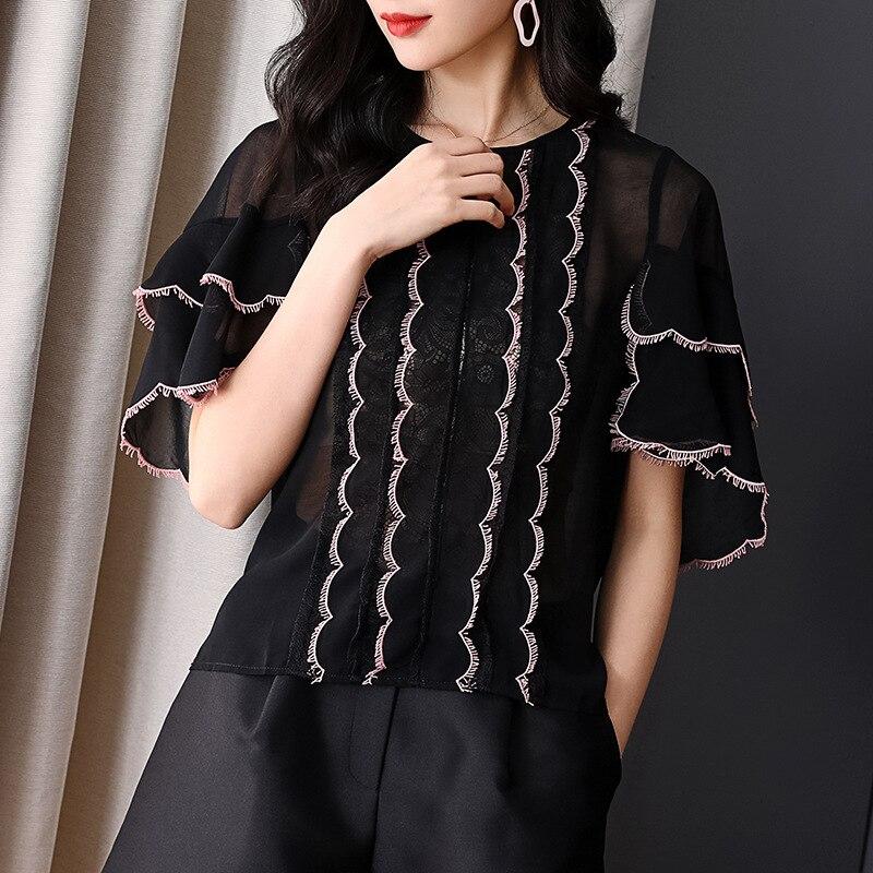 Haute qualité Blouses 2019 printemps été hauts à la mode femmes dentelle Patchwork Flare manches décontracté Sexy blanc hauts noirs Blouse Femme - 4