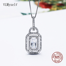 Solid 925 Sterling Silver Pendant Necklace Fine Jewelry Fast delivery Square design Suspension Jewellery for Women