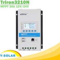 EPever Triron3210N 30A MPPT controlador de carga Solar 12 V 24 V retroiluminación LCD regulador Solar de 100 V de entrada PV común DS2 + UCS negativos