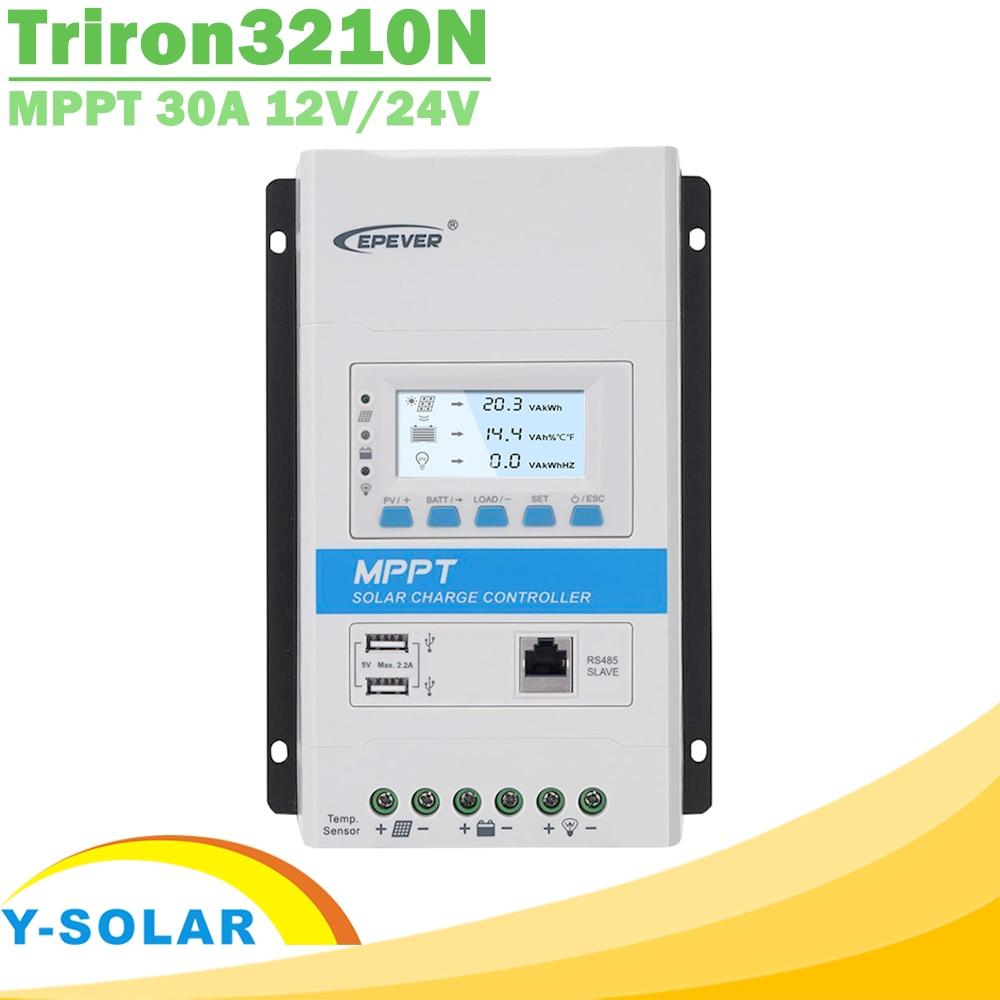 Epever triron3210n 30a mppt controlador de carga solar 12 v 24 v retroiluminação lcd solar regulador 100 v pv entrada comum negativo ds2 + ucs