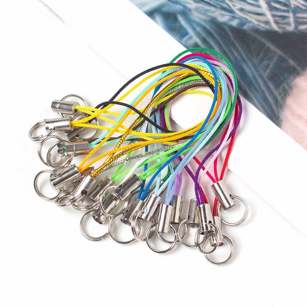 100 Pcs Kleur Polyester Dubbele Ring Lanyard Sieraden Lanyard Mobiele Telefoon Met Craft Hanger Diy Handgemaakte Materialen