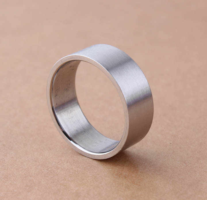 free shipping 8mm sliver dull and stereotyped rings  Flat Smooth 316L Stainless Steel finger ring for men jewelry  wholesale