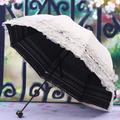 HGHO-Women's Princess Dome/Birdcage Sun/Rain Folding Umbrella For Wedding Lace Trim beige