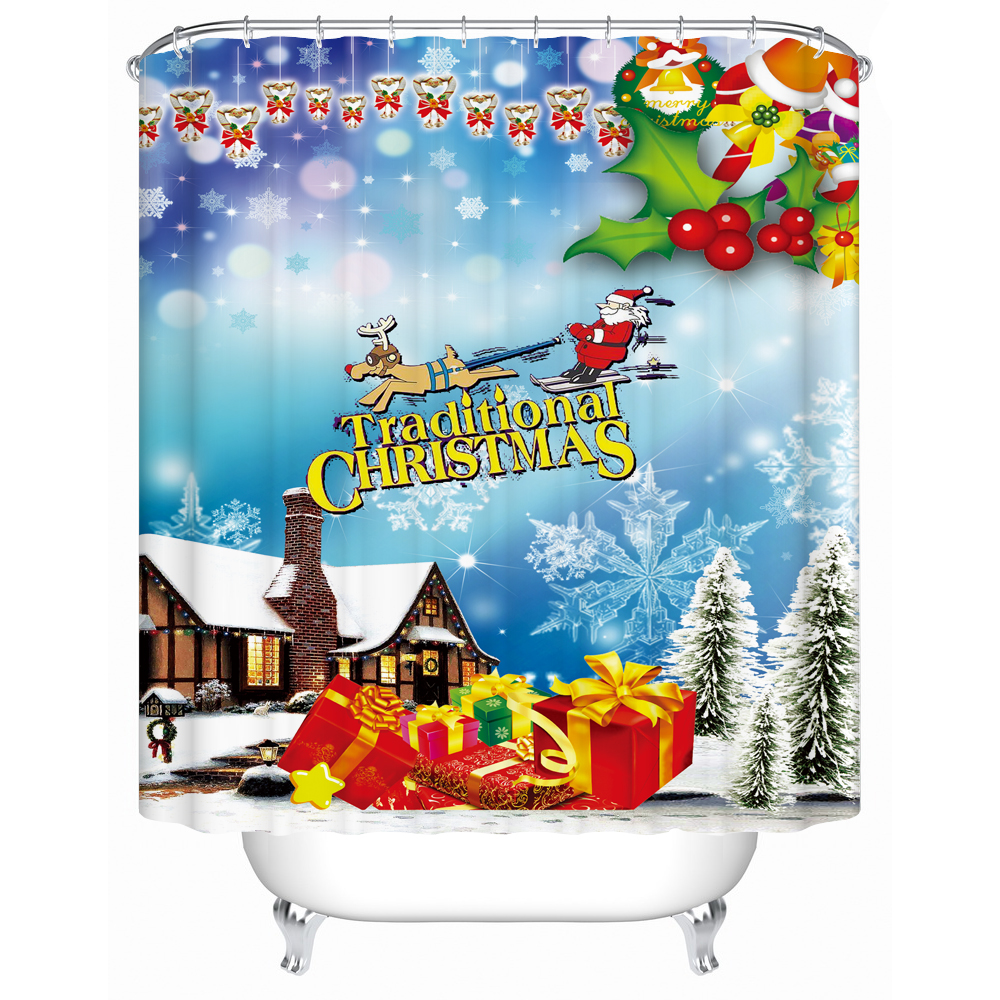 Christmas Shower Curtains Waterproof 3d Print Fabric Shower Curtain <font><b>Kids</b></font> Gift