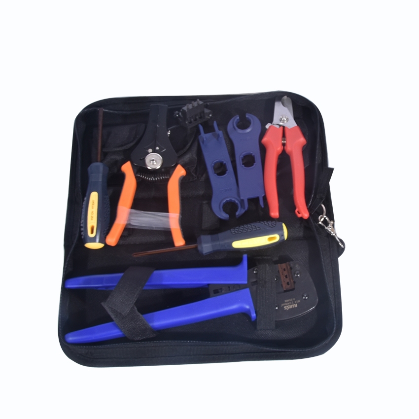 1Set A-2546B Combination Cutting Crimping Stripping Pliers For Solar PV Tool Kits With Test Wire pliers crimping tool set contain one crimping tool and four replacement crimping dies jaws packing in a plastic box hs02c 5d1