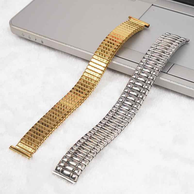 10 12 14 16 18 20 MM Stainless Steel Parts Watch Band Strap Silver Metal Watch Bracelets Stretch Expansion Watch Accessories