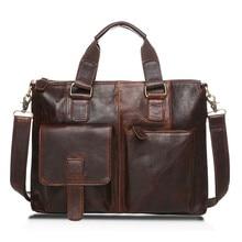 Real Leather Men Bag Crazy Horse Leather Men's Handbags Casual Business Laptop Shoulder Bags Briefcase Messenger Bag 2016 Sac