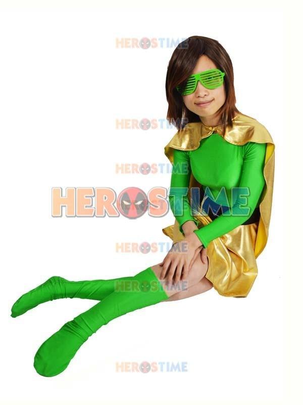 Spandex verde y Light Gold Metallic Superhero Costume disfraces de - Disfraces - foto 4