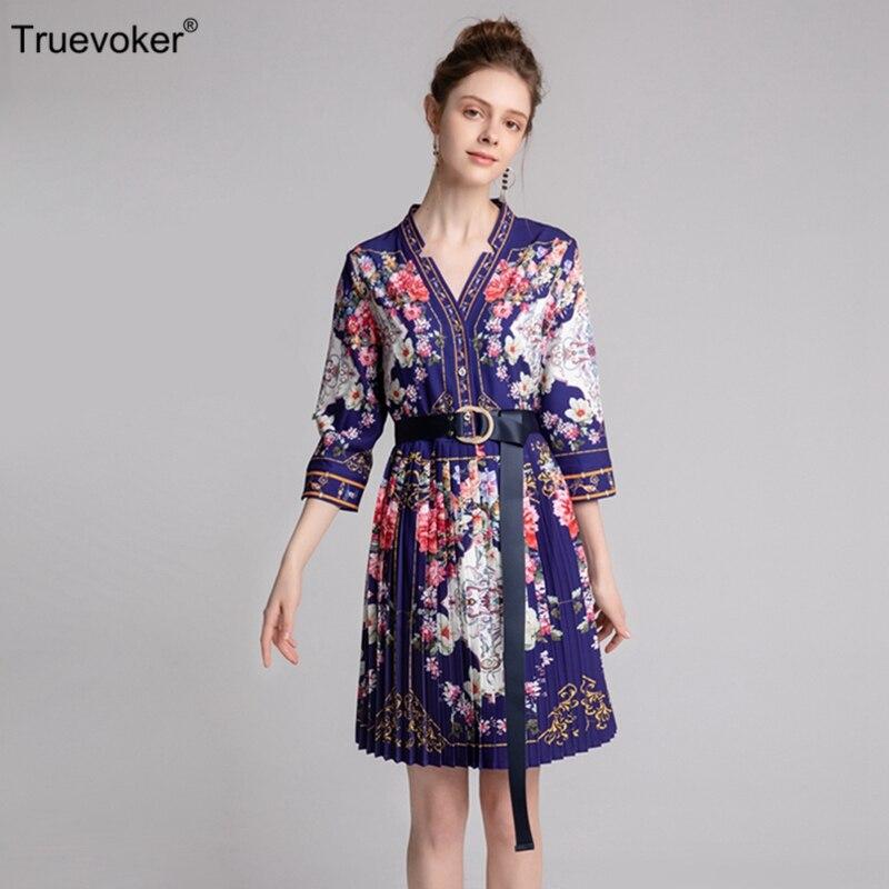 Manches Imprimé Demi De Spring Robe Designer Vintage Ete Femme Drapé Ceinture Truevoker Floral Europe Robes Femmes w4YU0